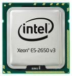 Intel Ten-Core 64-bit Xeon E5-2650v3 processor - 2.3GHz (Haswell-EP, 20MB Level-3 cache size, 9.6 GT/s QPI (4800 MHz) 5 GT/s DMI) Front Side Bus (FSB), 105 Watt TDP (Thermal Design Power), FCLGA2011-3 (Flip-Chip Land Grid Array) socket)